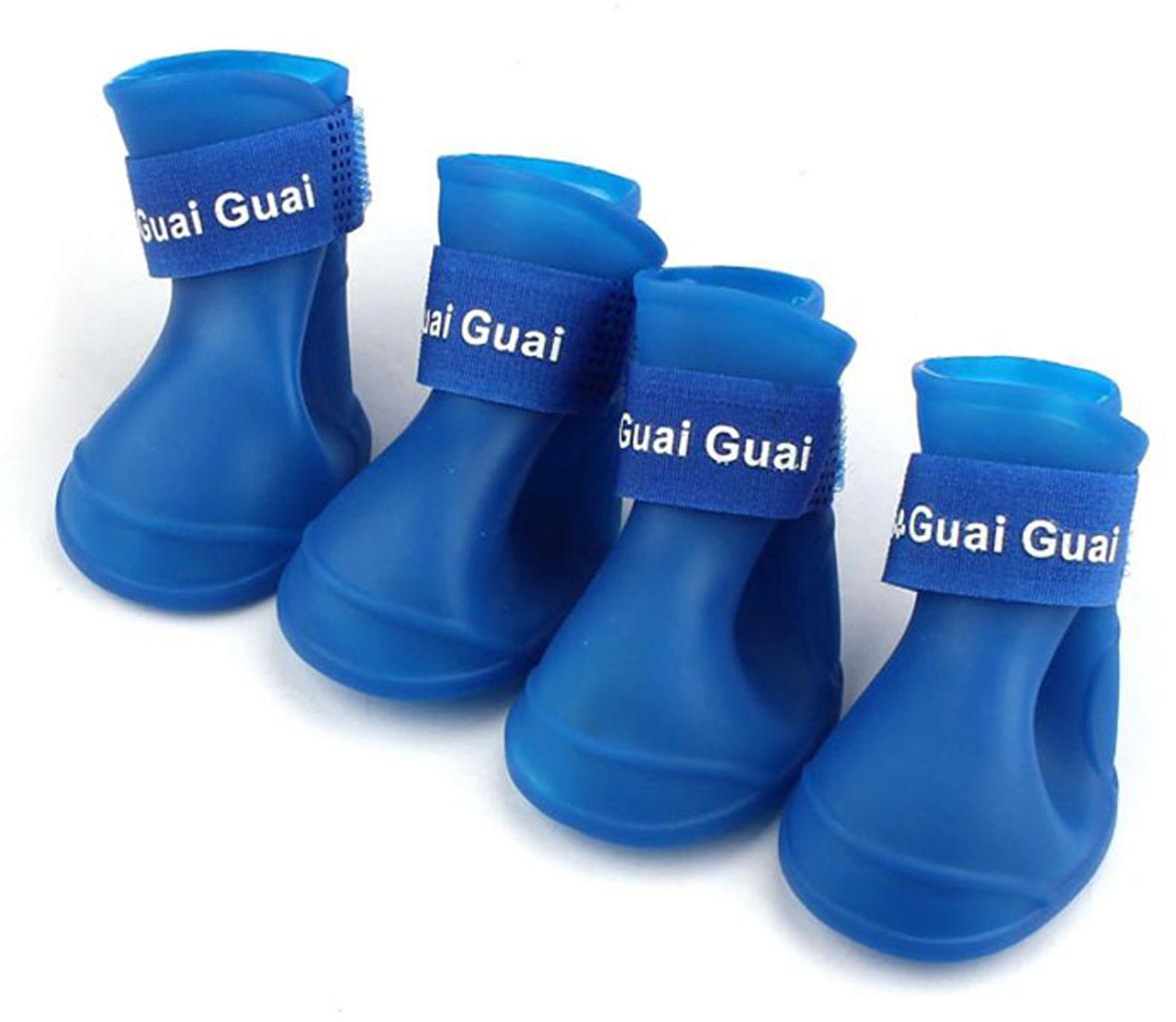 Ботинки для собак Грызлик Ам, цвет: синий. Размер L (5,7 х 4,7 см) ботинки для собак