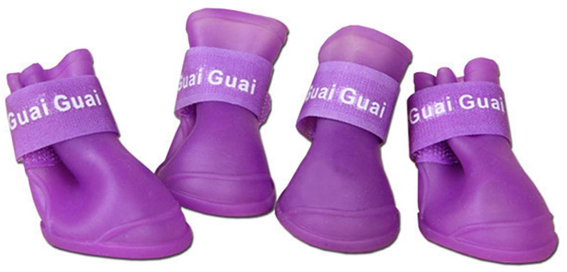 Ботинки для собак Грызлик Ам, цвет: сиреневый. Размер M (5 х 4 см)50.GR.012Силиконовые ботинки для собак. Защита лап: от реагентов, от слякоти, от грязи, от гравия, от битого стекла