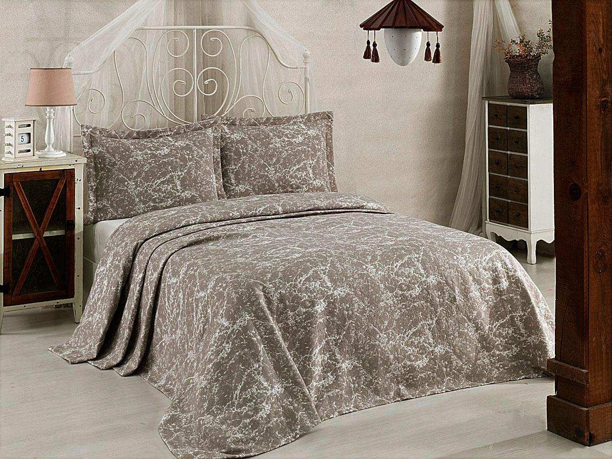 Комплект для спальни Karna Vartien, жаккард, покрывало 240 х 260 см, 2 наволочки 50 х 70 см, цвет: капучино, 3 предмета покрывало karna покрывало vartien цвет пудра 240х260 см