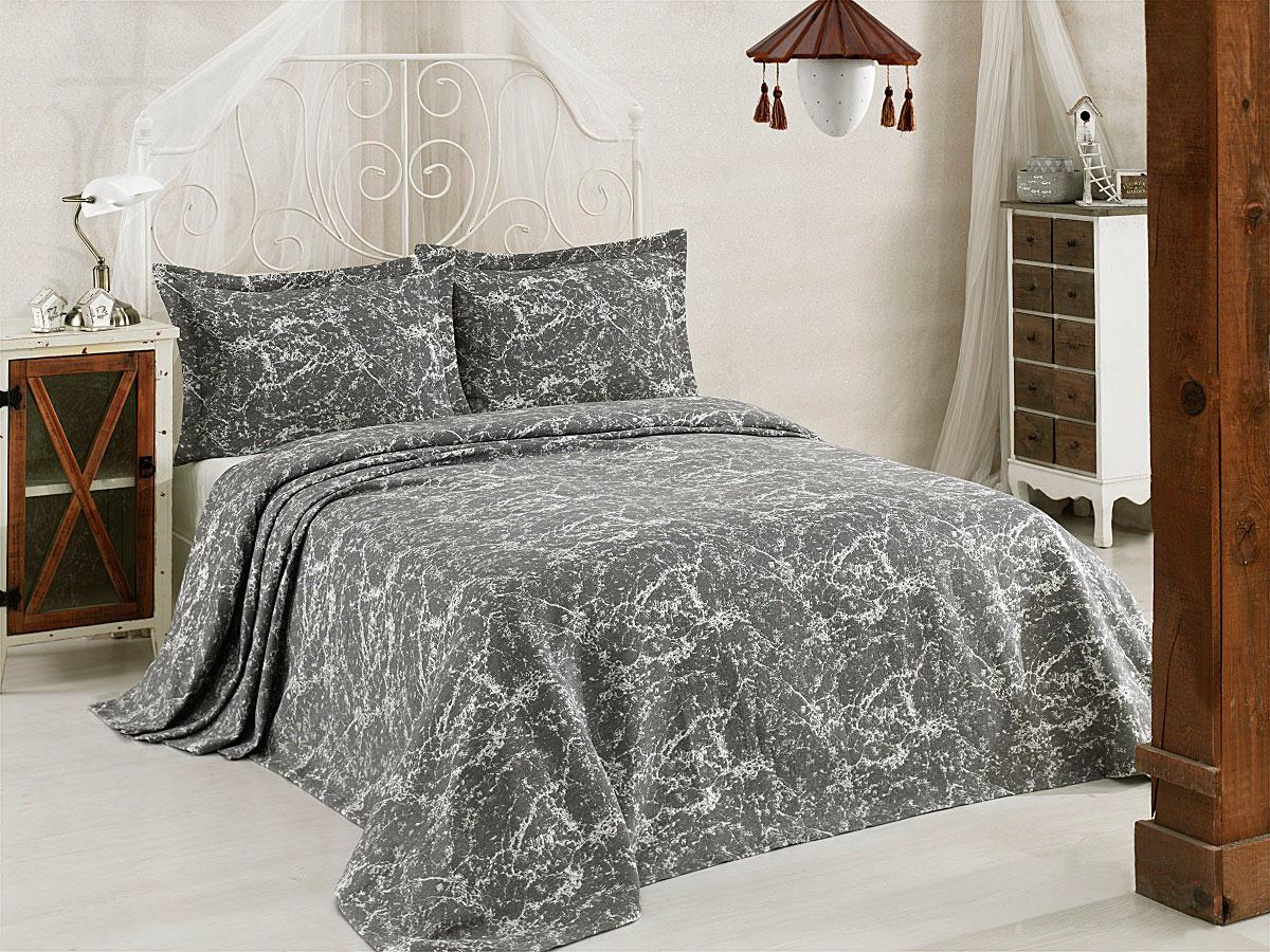 """Комплект для спальни Karna """"Vartien"""", жаккард, покрывало 240 х 260 см, 2 наволочки 50 х 70 см, цвет: черный, 3 предмета"""
