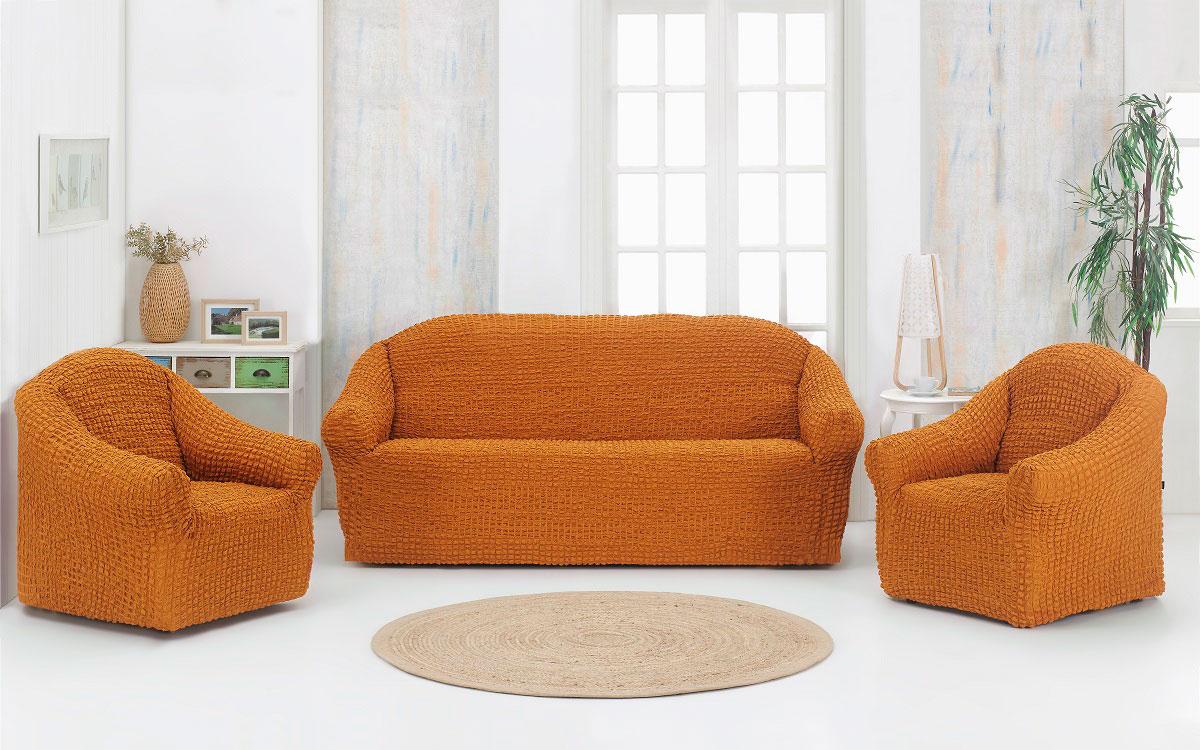 "Набор чехлов дла дивана и кресел ""Karna"", без юбки, цвет: горчичный, 3 предмета 1780 /CHAR003"