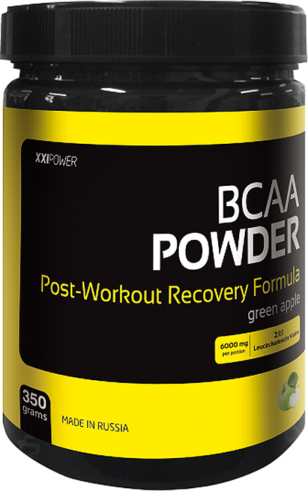 Аминокислоты Россия XXI POWER BCAA Powder, яблоко, 350 г аминокислоты qnt bcaa 8500 апельсин 350 г