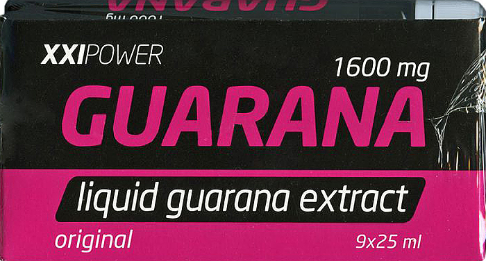 Энергетический напиток Россия XXI POWER Гуарана, 25 мл х 9 шт4607062758595XXI Power ГУАРАНА– жидкий экстракт гуараны. Питьевая гуарана для экстремальных ситуаций. Один флакон (25 мл.) эквивалентна 3 чашкам кофе. В одном флаконе (25 мл.) содержится: экстракт гуараны - 1600 мг., углеводы - 5 г., калорийность - 20 ккал.Состав: вода подготовленная, вкусо-ароматическая основа Гуарана (вода, регулятор кислотности лимонная кислота, натуральный ароматизатор, краситель сахарный колер IV, кофеин, экстракт гуараны, антиокислитель аскорбиновая кислота, консервант бензоат натрия, инвертный сироп), фруктоза кристаллическая, магний углекислый легкий, ароматизатор, премикс витаминный (Витамин С, ниацин, Витамин Е, пантотеновая кислота, Витамин В6, Витамин В1, Витамин В2, фолиевая кислота, биотин, Витамин В12), Витамин С