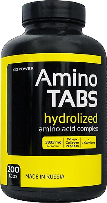 Аминокислотный комплекс Россия XXI POWER Амино Табс, 200 таблеток4607062757789Amino Power – аминокислотный комплекс на основе свободных аминокислот и пептидов разной длины. Продукт создан на базе аминокислот сывороточного белка и для создания более сбалансированного профиля обогащён аминокислотами гидролизата коллагена. Содержит оксипролин и оксилизин – аминокислоты крайне необходимые для суставов и связок. Для лучшего усвоения комплекса в Amino Power добавлен витамин С.Состав: Аминопептидная смесь «АмиПро» на основе сывороточного и соевого гидролизатов Arla Foods Ingr., Дания, «Колламин», лактоза, стеараты, желатин.