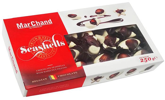 MarChand ракушки шоколадные конфеты, 250 г шоколадные конфеты merci 250 г