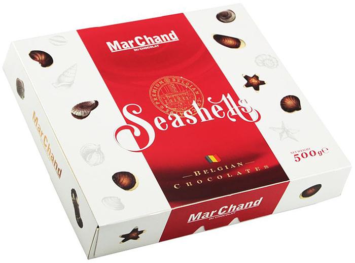 MarChand ракушки шоколадные конфеты, 500 г пудовъ кексики шоколадные 250 г