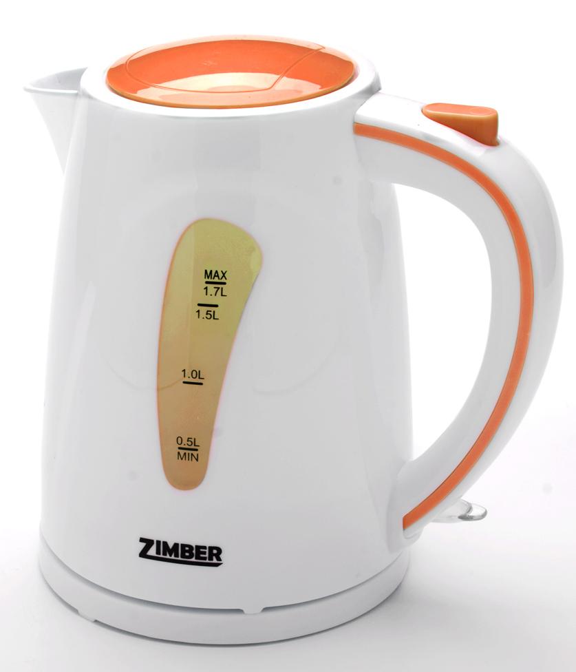 Zimber ZM-10840 электрический чайник10840Быстро вскипятить воду или поддерживать ее горячей в течение долгого времени поможет чайник Zimber. На рынке бытовой техники этот прибор пользуется неизменной популярностью благодаря высокому качеству, безопасности и удобству в использовании. Чайник оснащен скрытым нагревательным элементом из нержавеющей стали, что очень удобно, так как он более долговечен, чем спираль, и не подвержен образованию накипи. Для безопасного использования в чайнике Zimber предусмотрены функции автоматического отключения при отсутствии воды или открытии крышки, а также встроенная защита от перегрева. При работе чайника включается цветная внутренняя подсветка. Современный и оригинальный дизайн чайника, несомненно, порадует Вас и внесет новые краски в интерьер Вашей кухни!