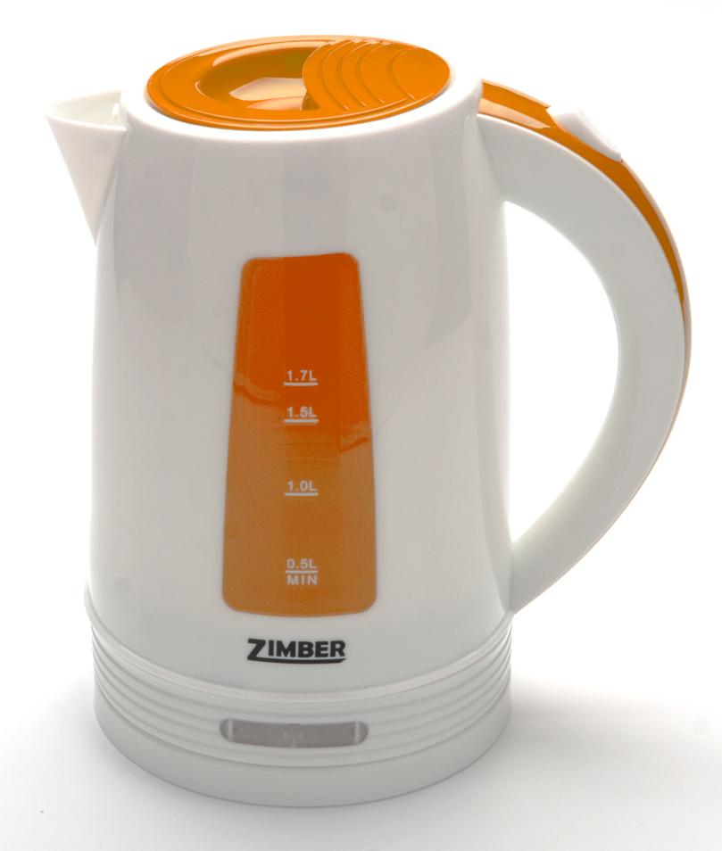 Zimber ZM-10848 электрический чайник10848Быстро вскипятить воду и поддерживать ее горячей в течение долгого времени Вам поможет чайник Zimber. На рынке бытовой техники этот прибор пользуется неизменной популярностью благодаря высокому качеству, безопасности и удобству в использовании. Корпус чайника выполнен из качественного термостойкого полипропилена. Чайник оснащен скрытым нагревательным элементом нержавеющей стали, что очень удобно, так как он более долговечен, чем спираль, и не подвержен образованию накипи. Чайник сохранит температуру воды на долгое время, что позволяет снизить расход электричества. Благодаря прозрачной шкале-индикатору можно следить за уровнем воды в чайнике. Для безопасного использования в чайниках Zimber предусмотрены функции автоматического отключения при отсутствии воды или открытии крышки, а также встроенная защита от перегрева. Яркий цвет изделия несомненно порадует Вас и внесет новые краски в интерьер Вашей кухни!