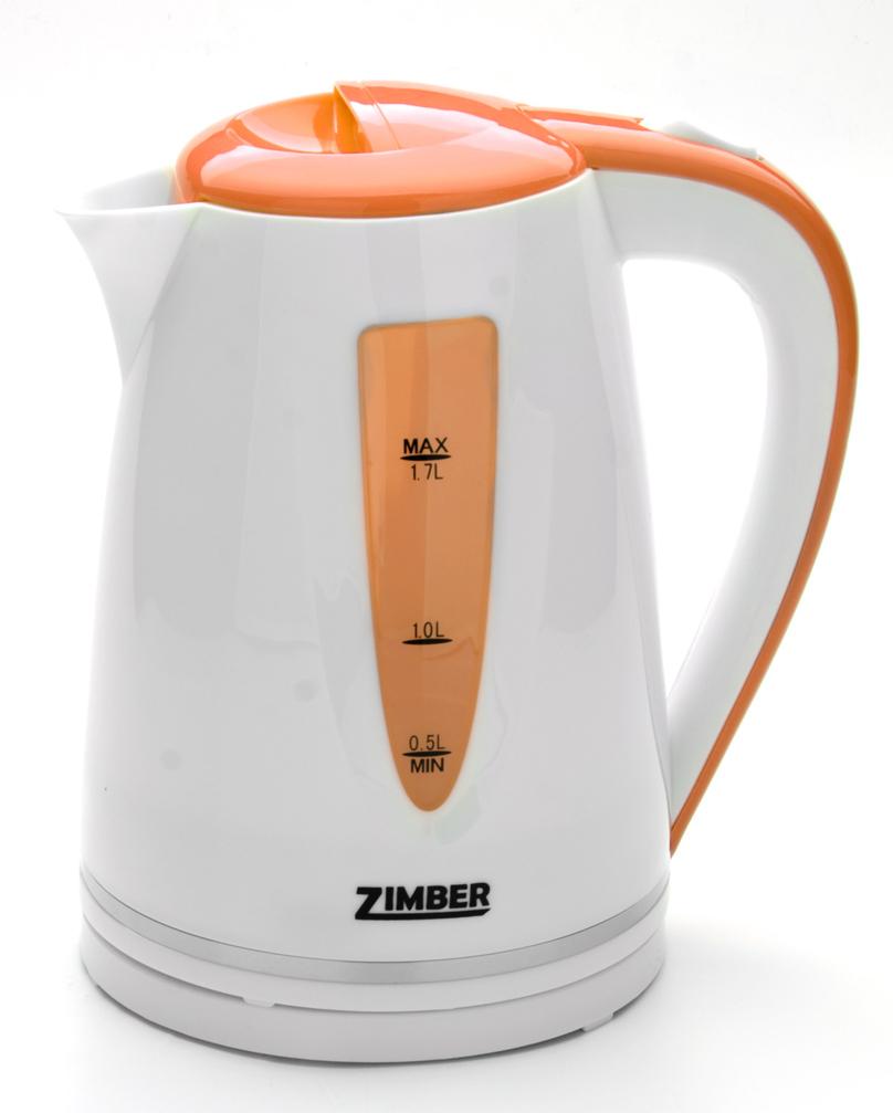 Zimber ZM-10852 электрический чайник10852Быстро вскипятить воду и поддерживать ее горячей в течение долгого времени Вам поможет чайник Zimber. На рынке бытовой техники этот прибор пользуется неизменной популярностью благодаря высокому качеству, безопасности и удобству в использовании. Корпус чайника выполнен из качественного термостойкого полипропилена. Чайник оснащен скрытым нагревательным элементом нержавеющей стали, что очень удобно, так как он более долговечен, чем спираль, и не подвержен образованию накипи. Чайник сохранит температуру воды на долгое время, что позволяет снизить расход электричества. Благодаря прозрачной шкале-индикатору можно следить за уровнем воды в чайнике. Для безопасного использования в чайниках Zimber предусмотрены функции автоматического отключения при отсутствии воды или открытии крышки, а также встроенная защита от перегрева. Яркий цвет изделия несомненно порадует Вас и внесет новые краски в интерьер Вашей кухни!