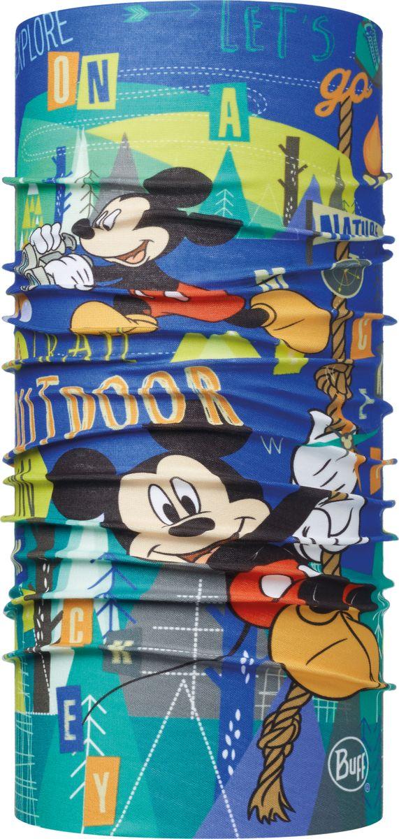 Бандана детская Buff Mickey Child Original Buff Trail Multi, цвет: синий. 113262.555.10.00. Размер универсальный113262.555.10.00Buff - это оригинальные, мультифункциональные, бесшовные головные уборы - удобные и комфортные для любого вида активного отдыха и спорта. Оригинальные, потому что Buff был и является первым в мире брендом мультифункциональных, бесшовных и универсальных головных уборов. Мультифункциональные, потому что их можно носить самыми разными способами: как шарф, как шапку, как балаклаву, косынку, бандану, маску, напульсник и многими другими - решает Ваша фантазия! Универсальный головной убор, который можно носить более чем двенадцатью способами, который можно использовать при занятии любым видом спорта, езде на велосипеде и мотоцикле, катаясь или бегая на лыжах, и даже как аксессуар в городской одежде. Бесшовные, благодаря эластичности, позволяющей использовать эти головные уборы как угодно и не беспокоиться о том, что кожа может быть натерта или раздражена швами. Размер (обхват головы): 50-55 см.