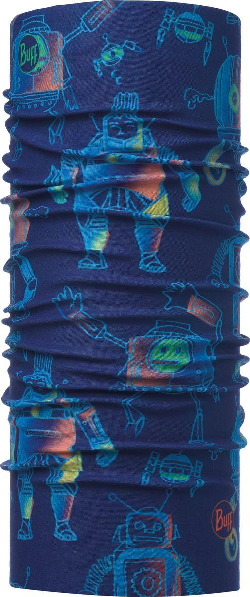 Бандана детская Buff Original Child Robots Navy, цвет: синий. 115486.787.10.00. Размер универсальный115486.787.10.00Бандана Buff Original - это оригинальный, мультифункциональный, бесшовный головной убор - удобный и комфортный для любого вида активного отдыха и спорта. Оригинальный, потому что Buff был и является первым в мире брендом мультифункциональных, бесшовных и универсальных головных уборов. Мультифункциональный, потому что их можно носить самыми разными способами: как шарф, как шапку, как балаклаву, косынку, бандану, маску, напульсник и многими другими - решает Ваша фантазия! Универсальный головной убор, который можно носить более чем двенадцатью способами, который можно использовать при занятии любым видом спорта, езде на велосипеде и мотоцикле, катаясь или бегая на лыжах, и даже как аксессуар в городской одежде. Бесшовный, благодаря эластичности, позволяющей использовать эти головные уборы как угодно и не беспокоиться о том, что кожа может быть натерта или раздражена швами. Размер (обхват головы): 50-55 см.