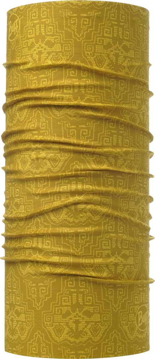 Бандана Buff Original Rankai Ocher, цвет: горчичный. 115212.105.10.00. Размер универсальный115212.105.10.00Бандана Buff Original - это оригинальный, мультифункциональный, бесшовный головной убор - удобный и комфортный для любого вида активного отдыха и спорта. Оригинальный, потому что Buff был и является первым в мире брендом мультифункциональных, бесшовных и универсальных головных уборов. Мультифункциональный, потому что их можно носить самыми разными способами: как шарф, как шапку, как балаклаву, косынку, бандану, маску, напульсник и многими другими - решает Ваша фантазия! Универсальный головной убор, который можно носить более чем двенадцатью способами, который можно использовать при занятии любым видом спорта, езде на велосипеде и мотоцикле, катаясь или бегая на лыжах, и даже как аксессуар в городской одежде. Бесшовный, благодаря эластичности, позволяющей использовать эти головные уборы как угодно и не беспокоиться о том, что кожа может быть натерта или раздражена швами. Размер (обхват головы): 53-62 см.