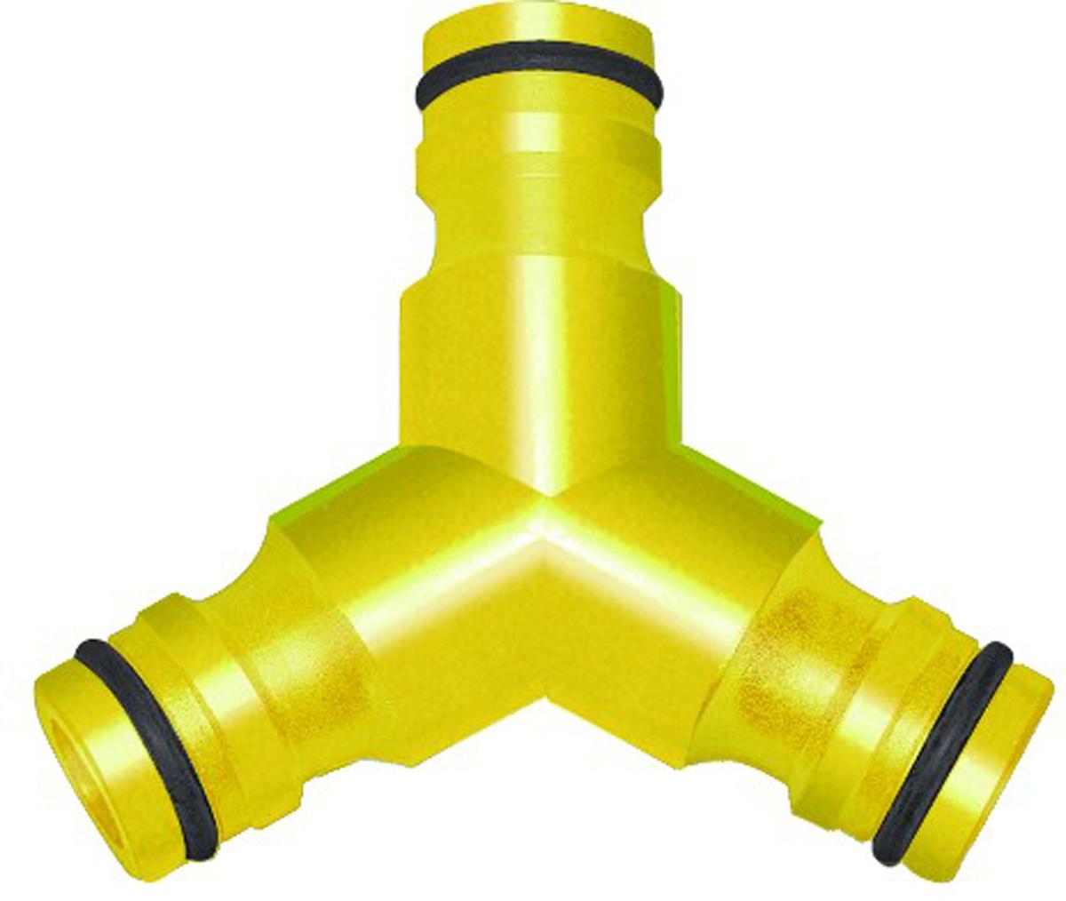 Тройник для шланга Frut, 1/2 - 3/4402018Тройник предназначен для разветвления шлангов. Используется совместно с коннекторами соответствующими диаметру шланга.Размер: 1/2 - 3/4. Материал: пластик.