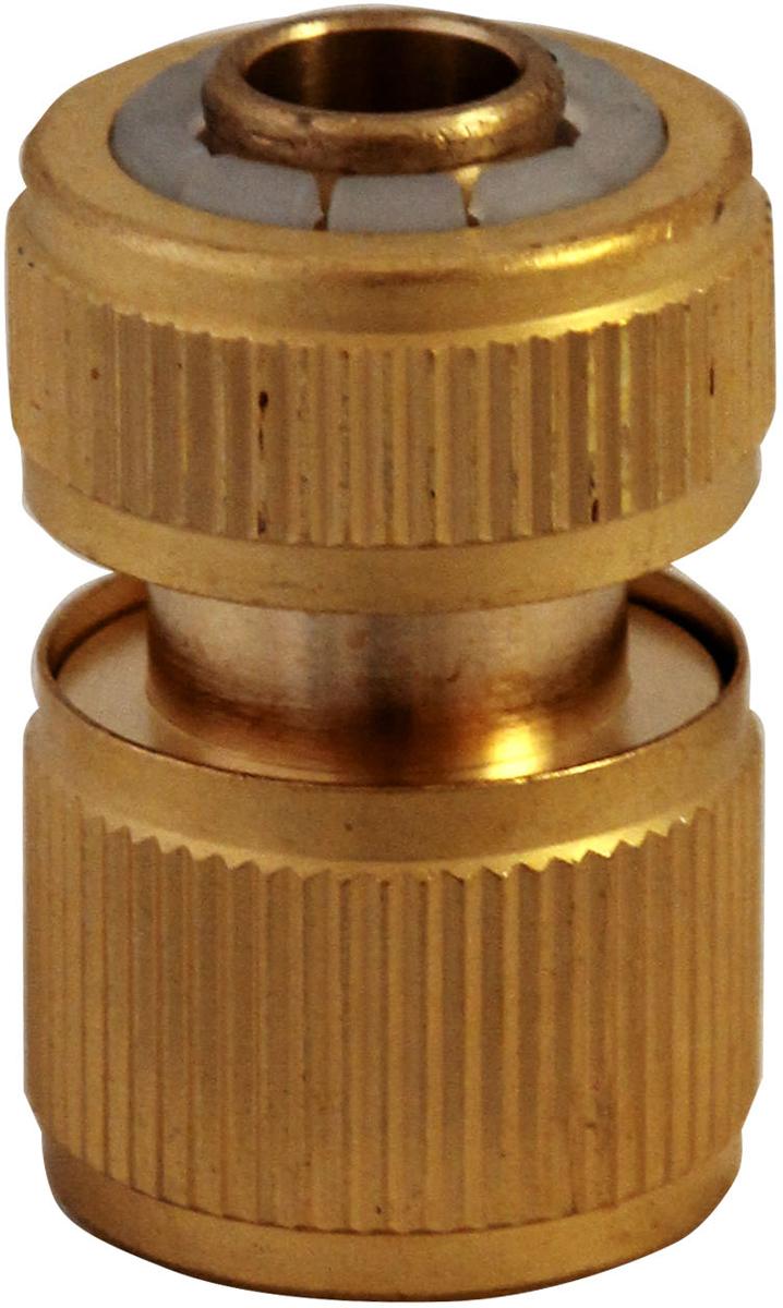 """Коннектор FRUT предназначен для быстрого и надежного подключения  пистолетов и разбрызгивателей к шлангам 1/2"""" (12,7 мм) без отключения  крана. Функция аквастопа автоматически перекрывает поток воды при  отсоединении разбрызгивателя или пистолета и возобновляет при  присоединении. Коннектор выполнен из латуни и оснащен резиновыми  прокладками. Размер: 1/2"""" Материал: латунь."""