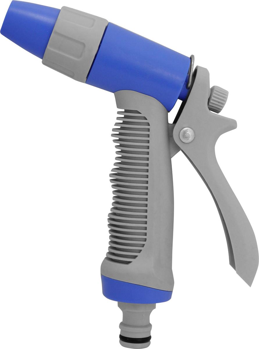 Регулируемый пистолет - распылитель FRUT предназначен для направленного  полива растений. Пистолет можно применять для мойки автомобиля и окон,  очистки инструментов и дорожек в саду. Пистолет позволяет регулировать  поток воды от сильной струи до мелкодисперсного распыления. Корпус  пистолета выполнен из противоударного ABS пластика, рукоятка и ободок  сопла покрыты слоем термопластичной резины для предотвращения контакта  с холодной поверхностью и защиты от выскальзывания. Пистолет оснащен  удобным металлическим фиксатором для длительного непрерывного полива.  Пистолет распылитель можно подключить к шлангу с помощью  быстросъемного коннектора соответствующего размера.