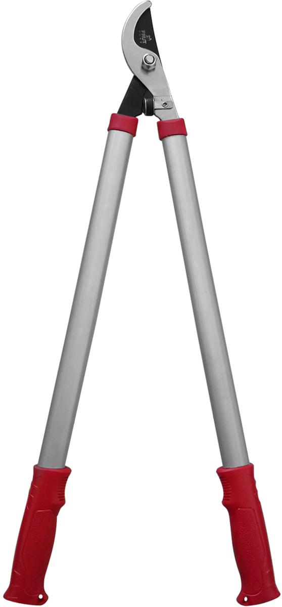 Обводной сучкорез FRUT предназначен для обрезания веток деревьев.  Инструмент имеет длинные алюминиевые рукоятки с пластиковыми  накладками для удобства удержания. Лезвия выполнены из закаленной стали,  стойкой к коррозии. Тефлоновое покрытие верхнего лезвия увеличивает срок  эксплуатации сучкореза.