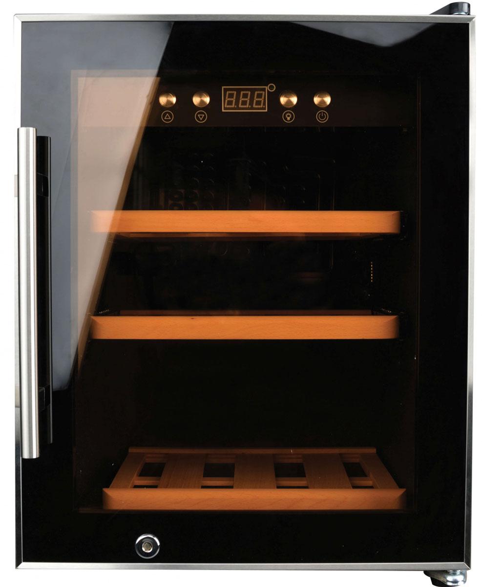 Gemlux GL-WC-12C винный шкафGL-WC-12CХолодильный шкаф для вина, компрессорный, +5...+20оС, 50 л, 1 стеклянная дверца, подсветка, сенсорное управление с ЖК-дисплеем, 3 деревянные полки, вместимость 12 бутылок 0,75 л, цвет черный
