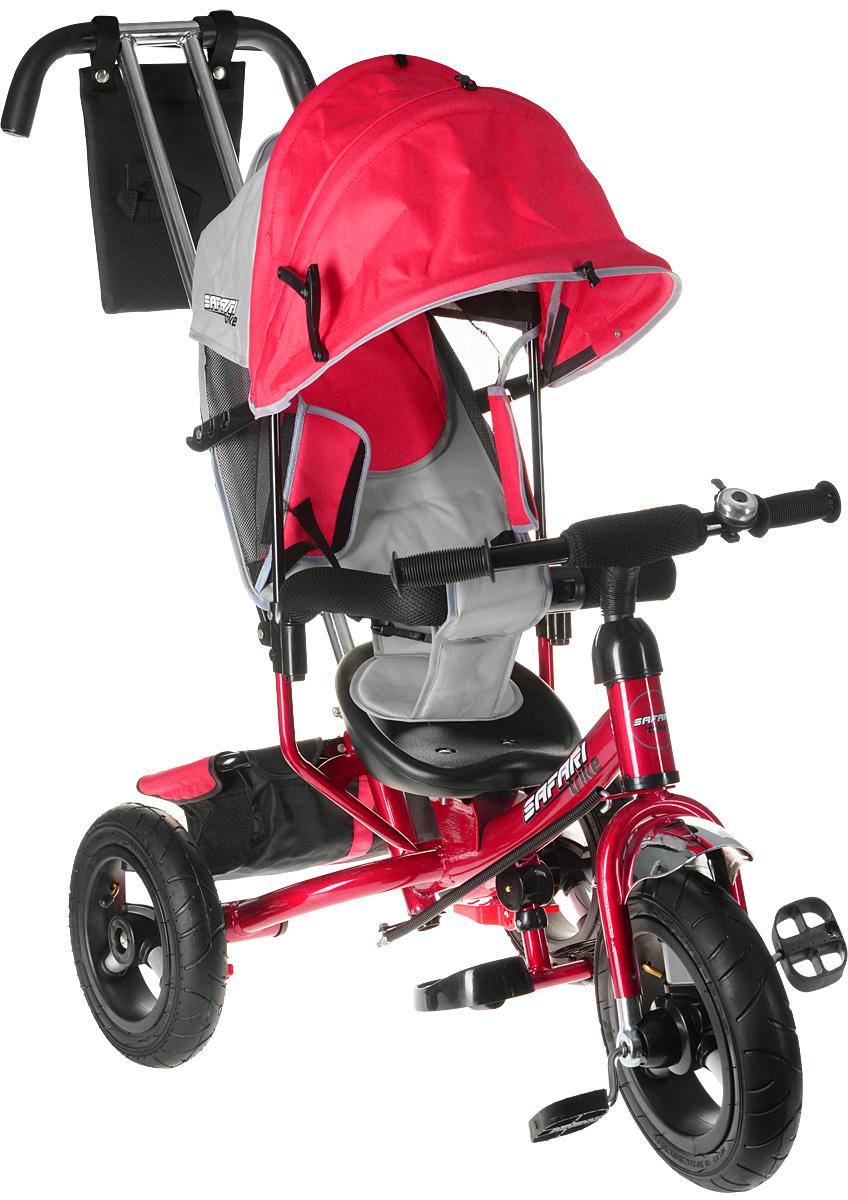 Комплектация: облегченные алюминиевые надувные резиновые колеса переднее - 12 с функцией свободного хода (разфиксация педалей), задние - 10. двойная родительская ручка с мягкими рукоятками из пористой резины и сумочкой, энергоемкая высокая спинка с регулируемым наклоном - 3 положения, складная подставка для ног, складной и съемный капюшон колясочного типа с застежками-фиксаторами, сиденье с двухточечным ремнем безопасности и памперсом, подголовник на спинке, стопоры задних колес, глубокая тканевая багажная корзина, раздвижная дуга безопасности с мягкими подлокотниками