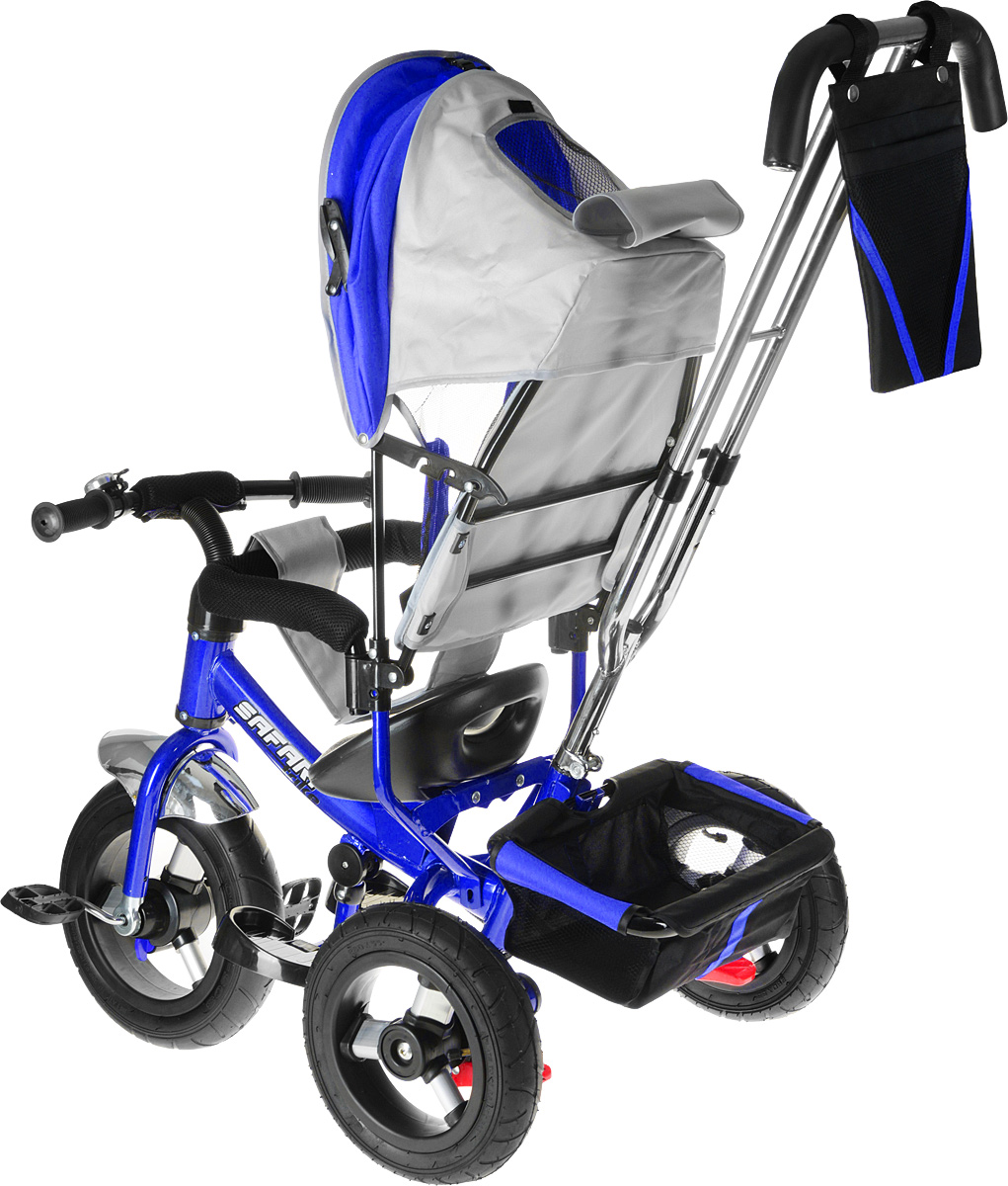 Комплектация: облегченные аллюминевые надувные резиновые колеса переднее - 12 с функцией свободного хода (разфиксация педалей), задние - 10. двойная родительская ручка с мягкими рукоятками из пористой резины и сумочкой, энергоемкая высокая спинка с регулируемым наклоном - 3 положения, складная подставка для ног, складной и съемный капюшон колясочного типа с застежками-фиксаторами, сиденье с двухточечным ремнем безопасности и памперсом, подголовник на спинке, стопоры задних колес, глубокая тканевая багажная корзина, раздвижная дуга безопасности с мягкими подлокотниками