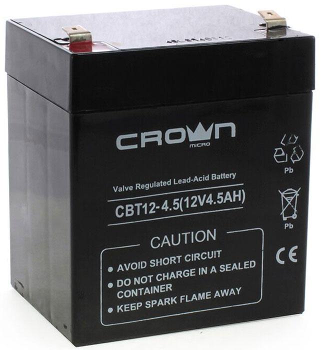 Crown Micro CBT-12-4.5 аккумулятор для ИБПCBT-12-4.5Эта свинцово-кислотная аккумуляторная батарея CROWN серии CBT являются герметизированной, необслуживаемой батарей с системой рекомбинации газов (VRLA), она произведенная по AGM технологии (электролит, абсорбированный в стекловолоконном сепараторе) - это делает ее идеально подходящей для использования в буферном и циклическом режимах работы.