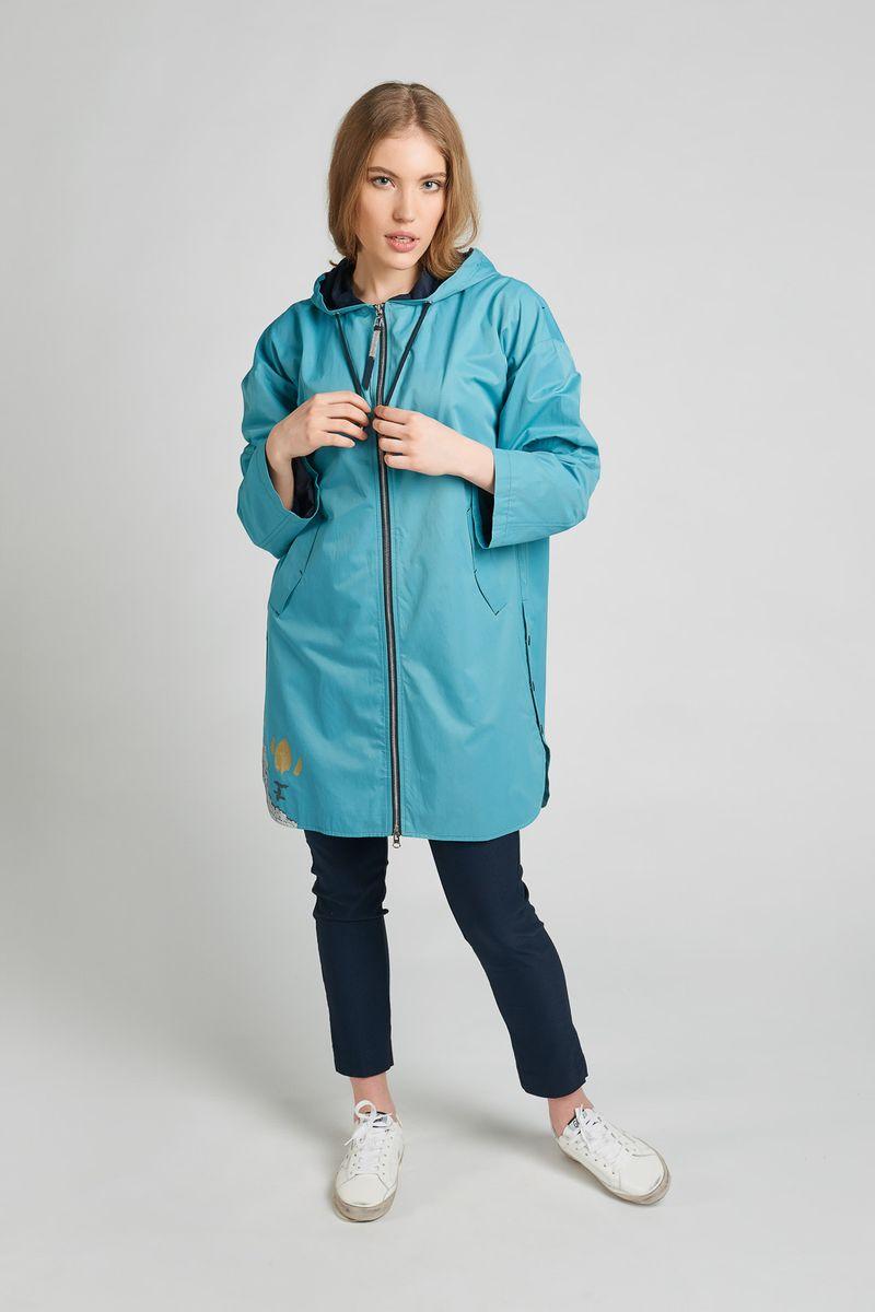 Куртка женская Elfina, цвет: бирюзовый. 81068_4719. Размер 5081068_4719Куртка женская Elfina выполнена из хлопка с добавлением полиэстера. Модель с капюшоном спереди застегивается на застежку-молнию.