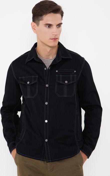 Куртка мужская Vizani, цвет: темно-синий. 10527_99. Размер 4810527_99Легкая мужская куртка от Vizani выполнена из натурального хлопка. Модель с длинными рукавами и отложным воротником застегивается кнопки, дополнена нагрудными карманами с клапанами на кнопках.