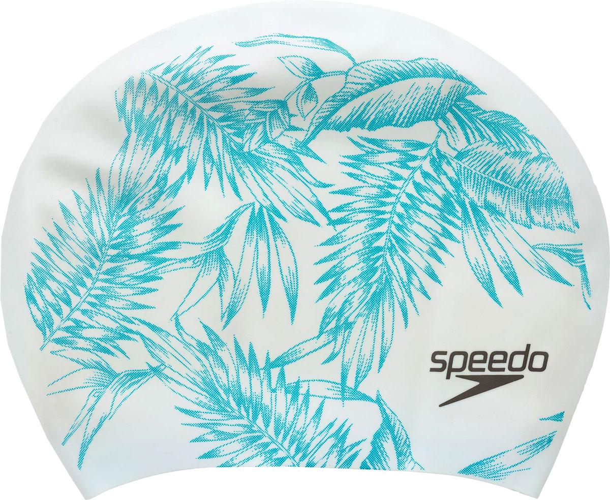 Шапочка для плавания Speedo, цвет: белый, голубой сланцы speedo speedo sp473amqht28