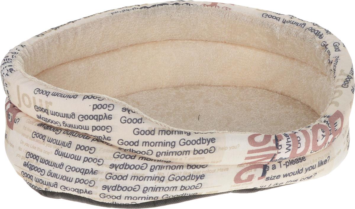 Лежак для собак GLG Малютка. Good Morning, цвет: бежевый, 37 х 30 х 11 см лежак для собак rogz luna podz цвет розовый 25 х 52 х 38 см