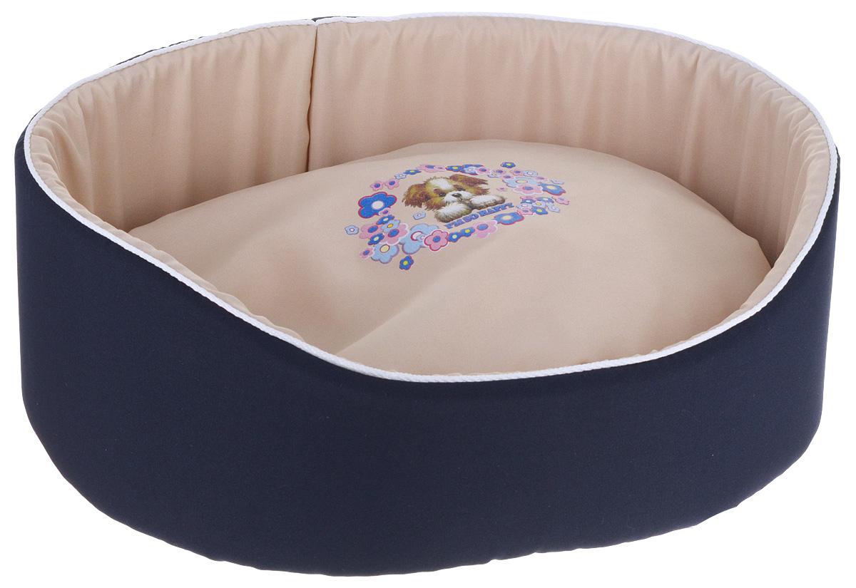 Лежак для животных GLG Картинка, цвет: синий, бежевый, 48 х 35 х 17 см ваза 17 х 13 5 х 20 см