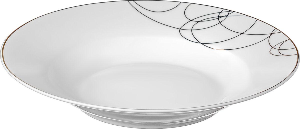 Тарелка суповая,22,5 см Leontina изготовлена из высококачественного материала с содержанием костной муки до 42%. Это придает предметам легкость, прозрачность и белизну.  Благодаря простым удобным формам и минималистическому дизайну, коллекцию можно считать универсальной. Идеально подходит для сервировки праздничного стола и ежедневной трапезы.  Неоспоримым преимуществом является возможность использования предметов из коллекций Leontina в микроволновой печи.