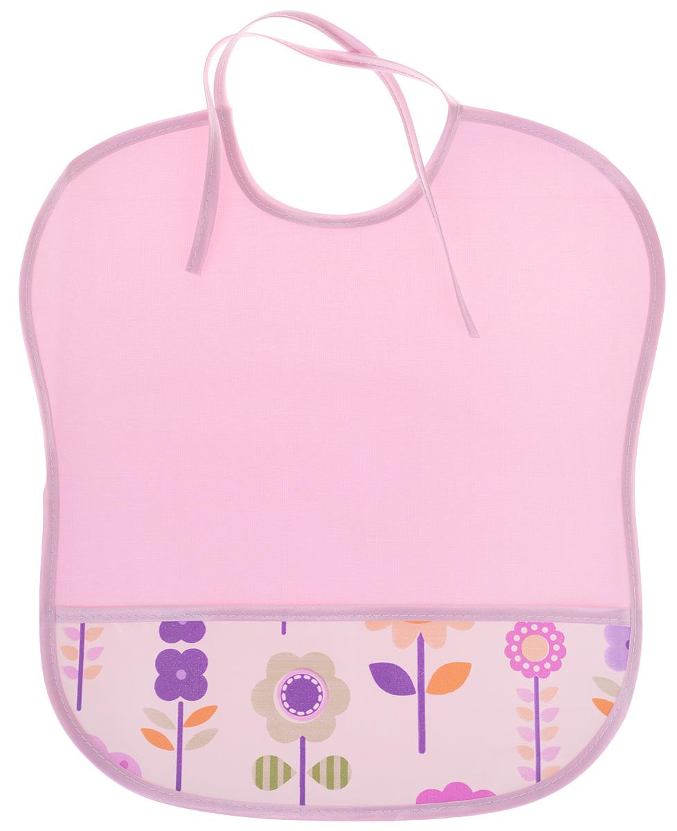 Колорит Нагрудник с карманом цвет розовый, белый 33 см х 33 см 35 33