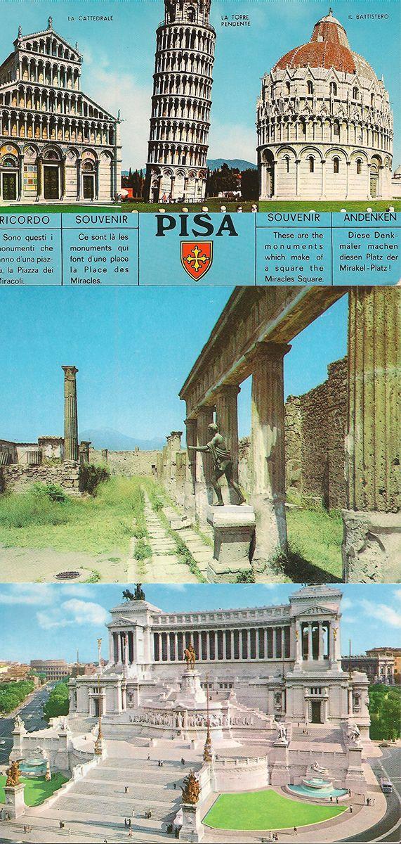 Набор из 3 видовых открыток. Виды Италии, 70-90 годы (комплект из 3 открыток)