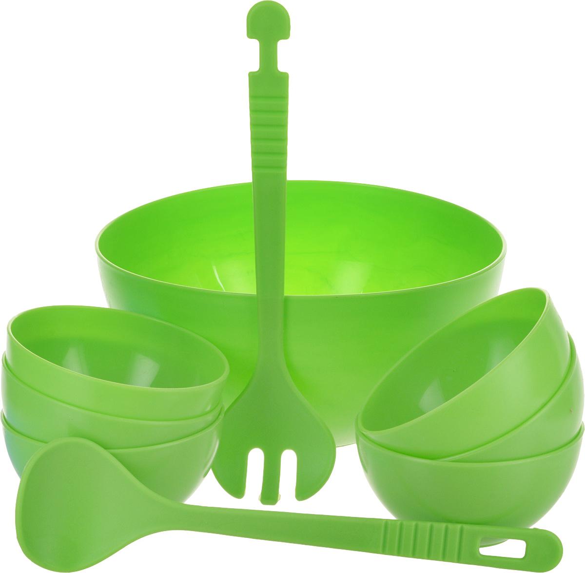 """Набор для салата """"Gotoff"""", цвет: салатовый, 9 предметов"""