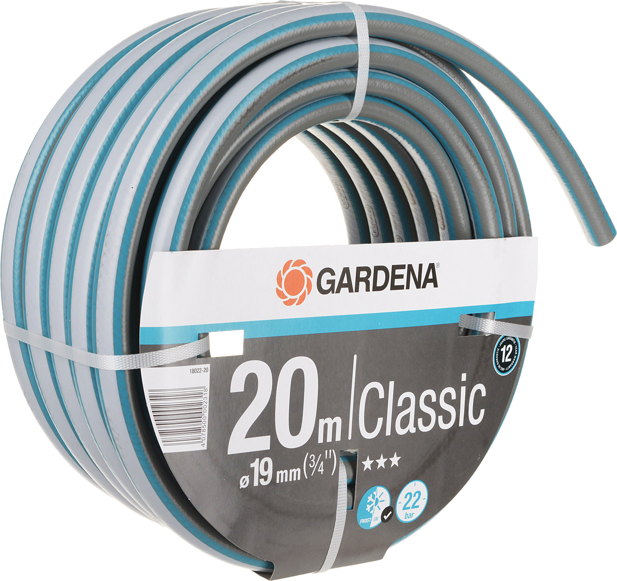 Шланг Gardena Classic, цвет: серый, голубой, 19 мм (3/4) х 20 м слэклайн classic 15 м