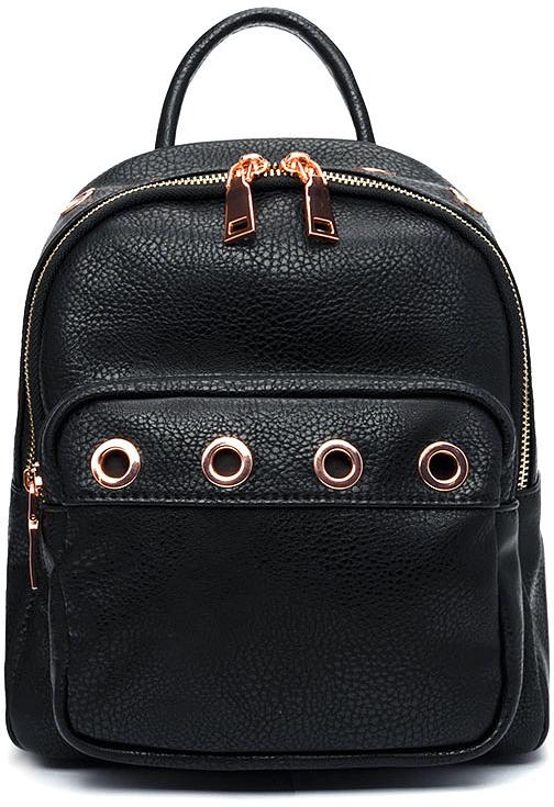 Рюкзак женский Vitacci, цвет: черный. BD0482BD0482Рюкзак женский Vitacci благодаря своей стильной фактуре идеально подходит для прогулок в городе и на отдыхе. Передняя часть рюкзака декорирована крупными заклепками.