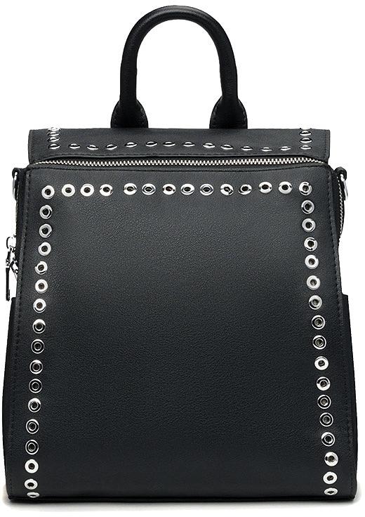Рюкзак женский Vitacci, цвет: черный. BD0490BD0490Рюкзак женский Vitacci благодаря своей стильной фактуре идеально подходит для прогулок в городе и на отдыхе. Передняя часть рюкзака декорирована металлическими заклепками.