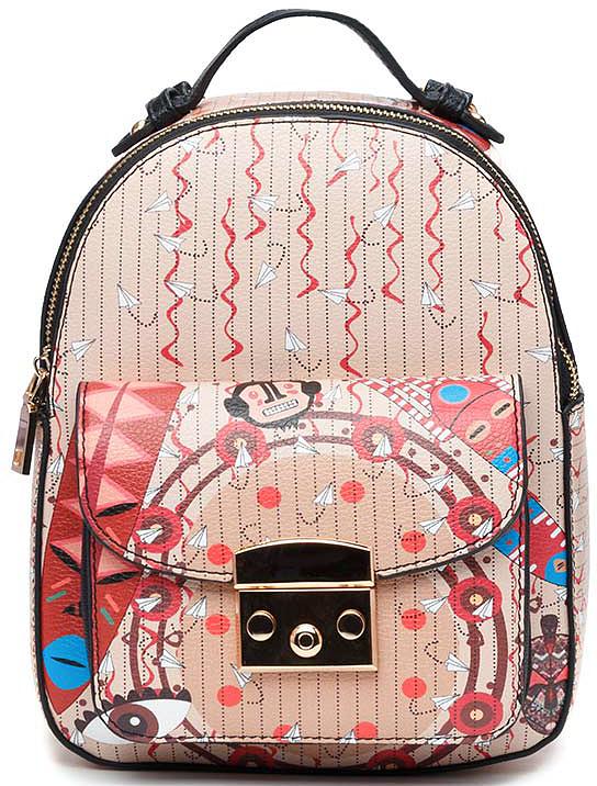 Рюкзак женский Vitacci, цвет: мультиколор. BG11011-1BG11011-1Рюкзак женский Vitacci благодаря яркой расцветке и стильной фактуре идеально подходит для прогулок в городе и на отдыхе. Передняя часть рюкзака украшена пряжкой.