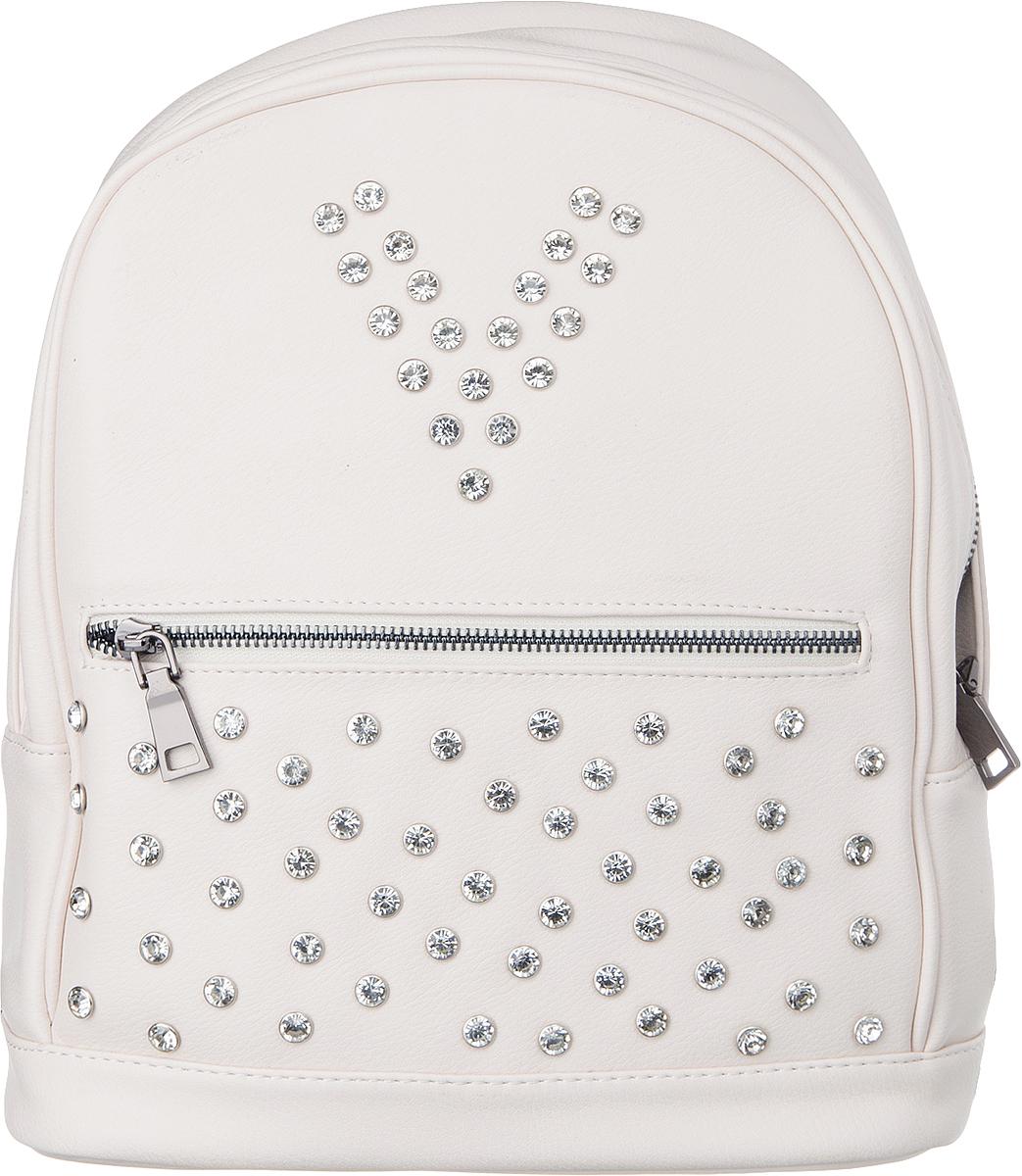 Рюкзак женский Vitacci, цвет: пудровый. V1269V1269Рюкзак женский Vitacci благодаря своей стильной фактуре идеально подходит для прогулок в городе и на отдыхе. Имеется внешний карман на молнии. Передняя часть рюкзака декорирована металлическими заклепками.