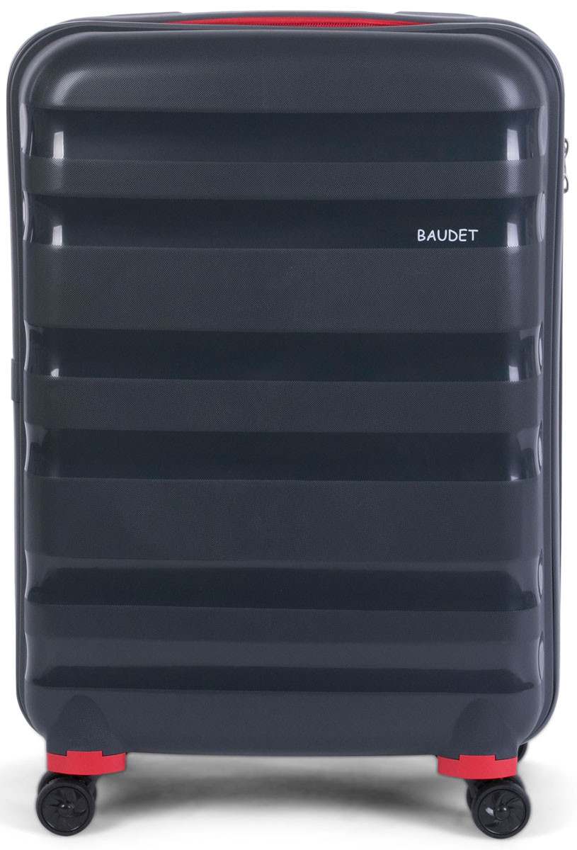 """Чемодан """"Baudet"""", на колесах, цвет: темно-серый, 62 х 47 х 27 см, 78,6 л"""