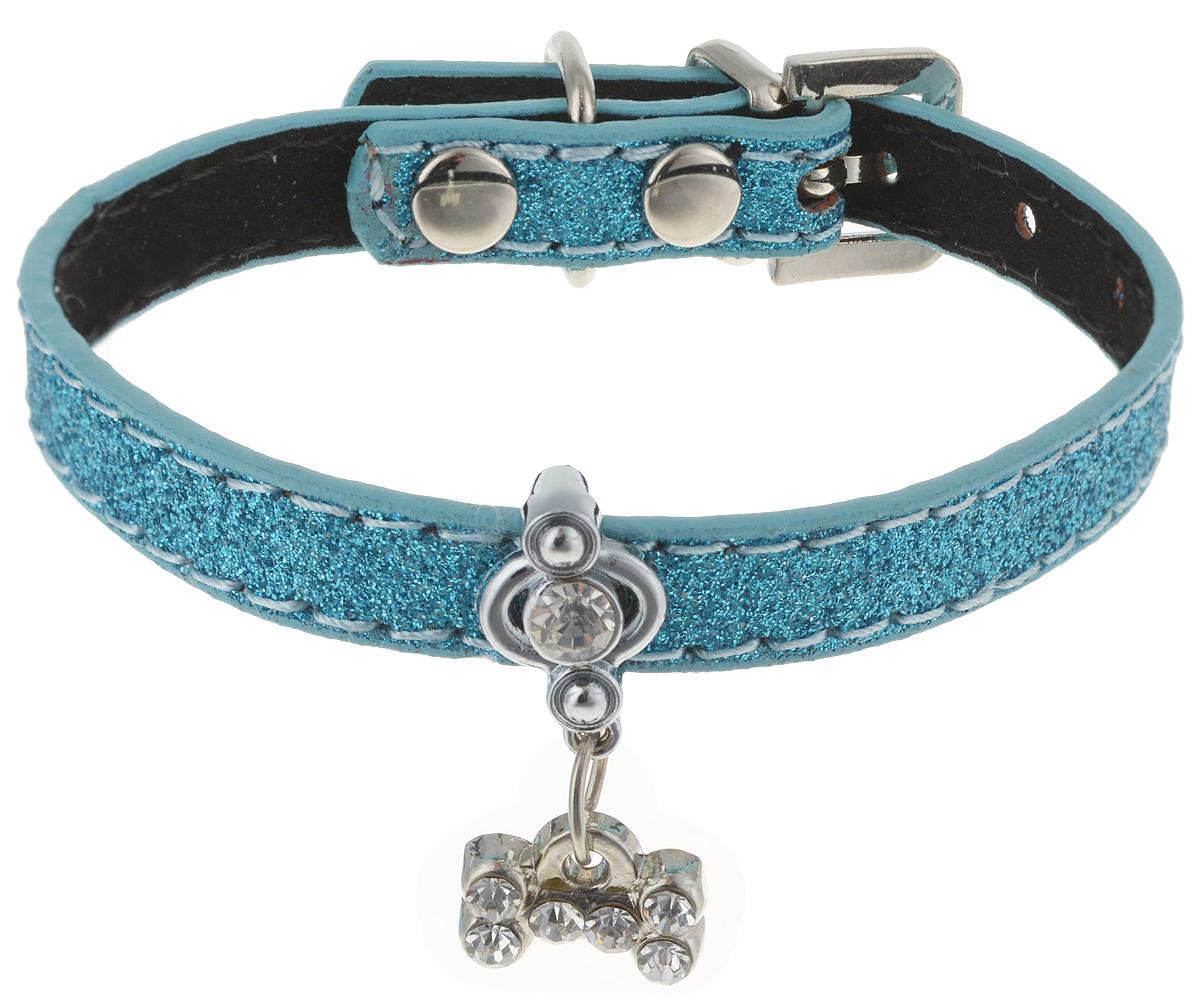 Ошейник для котов и собак GLG, с кулоном, цвет: голубой, 25 см ошейник для собак