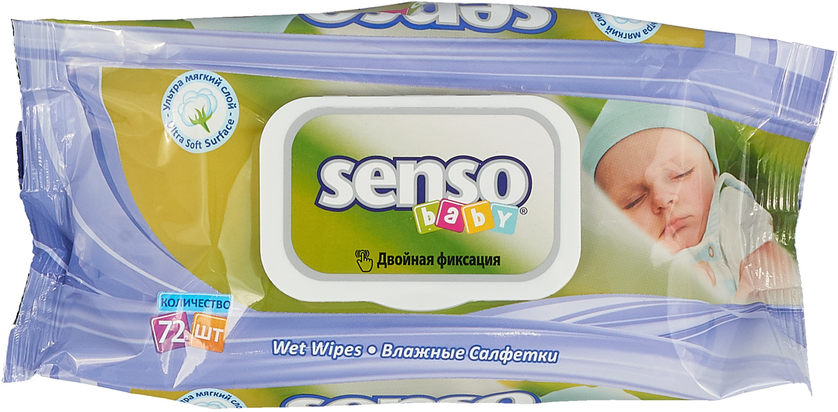 Senso Baby Ecoline Влажные салфетки с крем-бальзамом 72 шт4810703001183Мягкие и плотные не содержат спирта и парабена. Салфетки гигиеничны, великолепно очищают и питают кожу.Удобная упаковка, которую можно открывать и закрывать многократно, позволяет использовать их в любой ситуации.