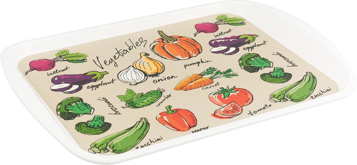 """Поднос Plast Team """"Assorty Овощи"""", прямоугольный, 43,5 х 30,5 х 2,5 см"""