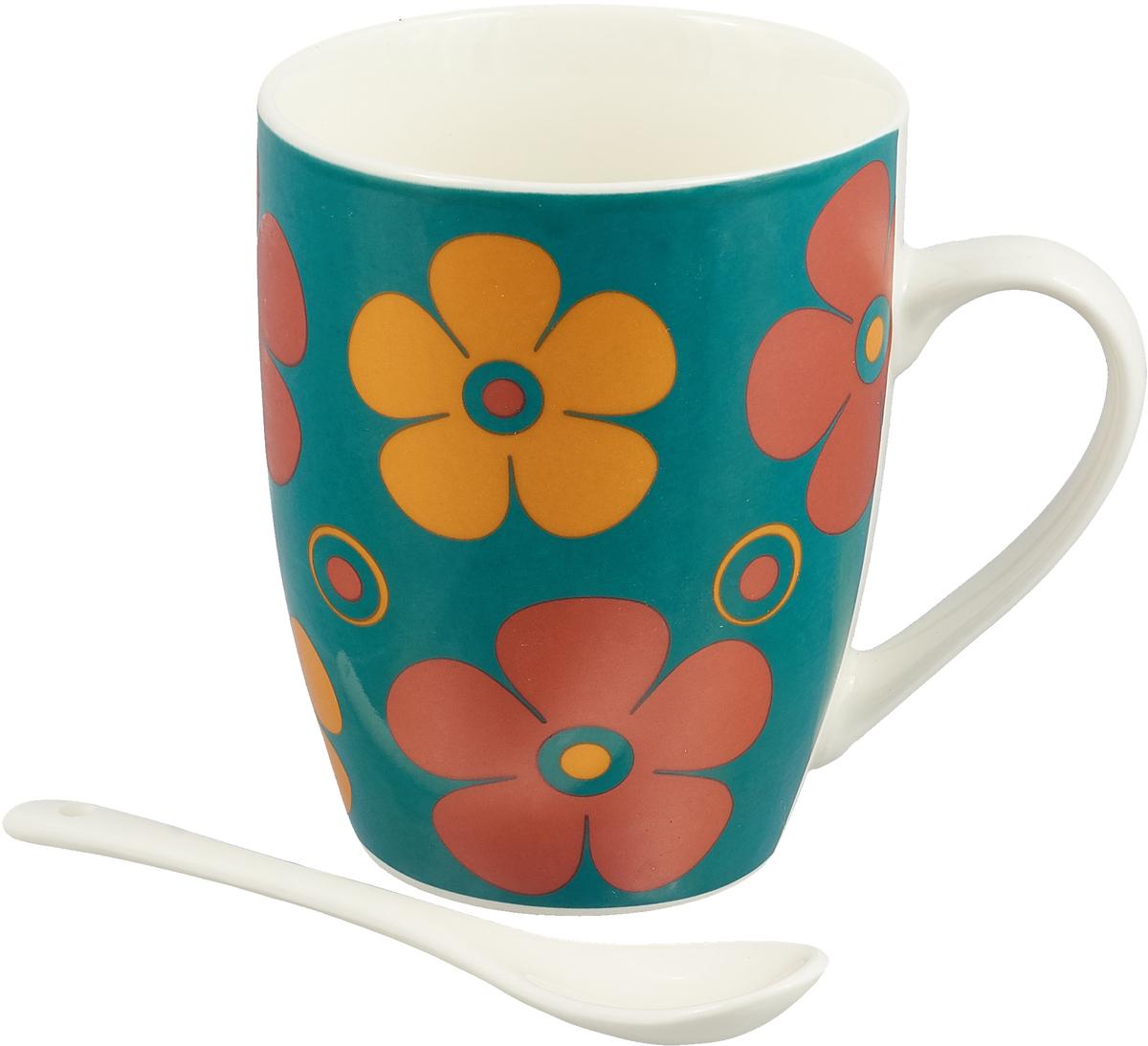 Кружка Доляна Радуга цветов, с ложкой, 300 мл