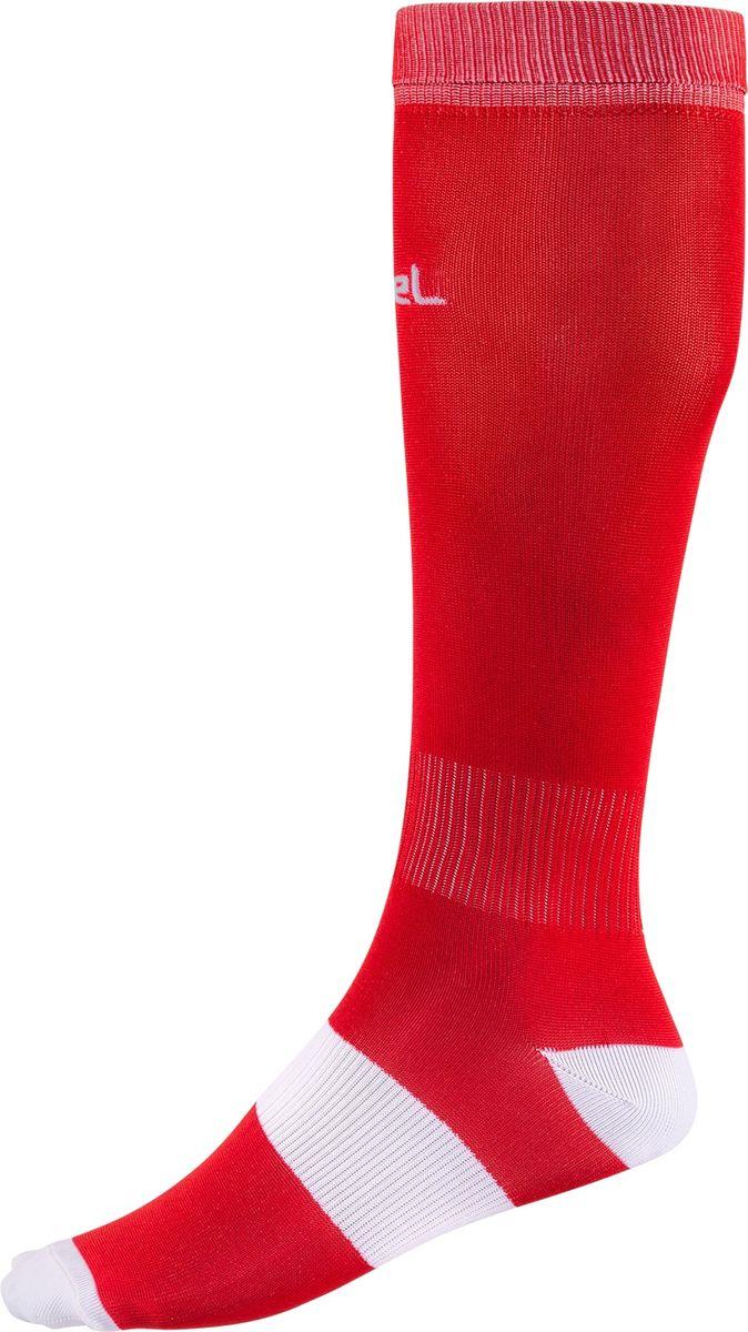 Гетры футбольные мужские Jogel, цвет: красный, белый. JA-001_УТ-00012514. Размер 38/41JA-001_УТ-00012514Гетры выполнены из трикотажного полотна. Ткань способствует выведению влаги, сохраняя комфорт и сухость. Эластичная вставка в области свода стопы для поддерживающей плотной посадки.Усиленные пятка и мысок для повышенной прочности в зонах, наиболее подверженных износу.Дополнительная резинка в районе щиколотки препятствует сползанию гетр.Анатомический крой.