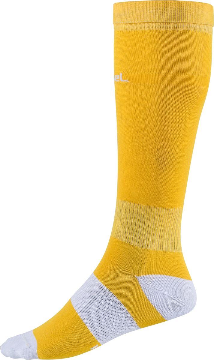 Гетры футбольные мужские Jogel, цвет: желтый, белый. JA-001_УТ-00012512. Размер 42/44JA-001_УТ-00012512Гетры выполнены из трикотажного полотна. Ткань способствует выведению влаги, сохраняя комфорт и сухость. Эластичная вставка в области свода стопы для поддерживающей плотной посадки.Усиленные пятка и мысок для повышенной прочности в зонах, наиболее подверженных износу.Дополнительная резинка в районе щиколотки препятствует сползанию гетр.Анатомический крой.