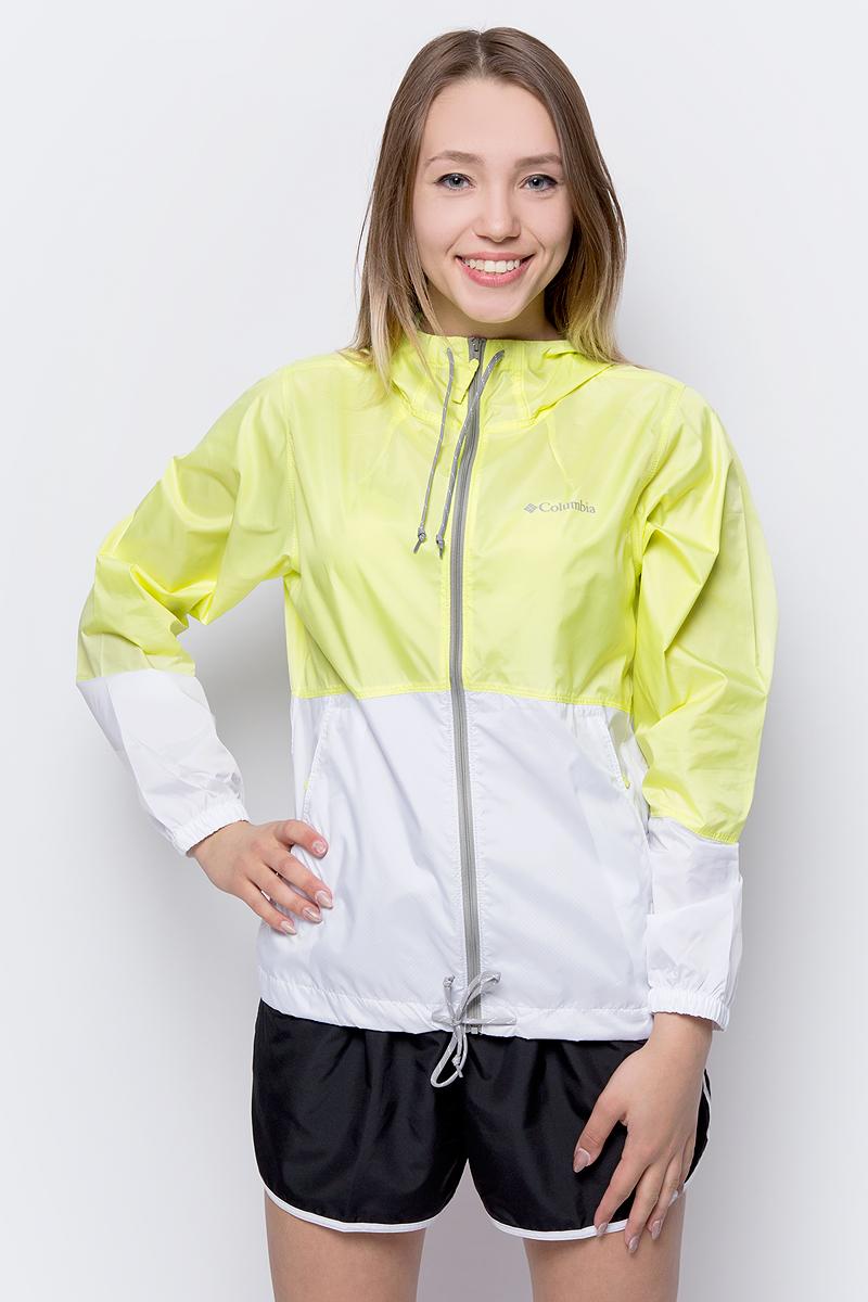 Ветровка женская Columbia Flash Forward Windbreaker, цвет: желтый, белый. 1585911-797. Размер XS (42) ветровка columbia columbia co214emaulj3