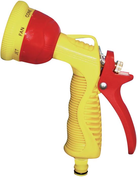 """Пистолет-распылитель """"Frut"""" предназначен для направленного полива растений.  Обеспечивает 6 режимов полива. Оснащен удобной пластиковой эргономичной рукояткой с фиксатором для  обеспечения непрерывного длительного полива. Материал: пластик, металлическое сопло."""