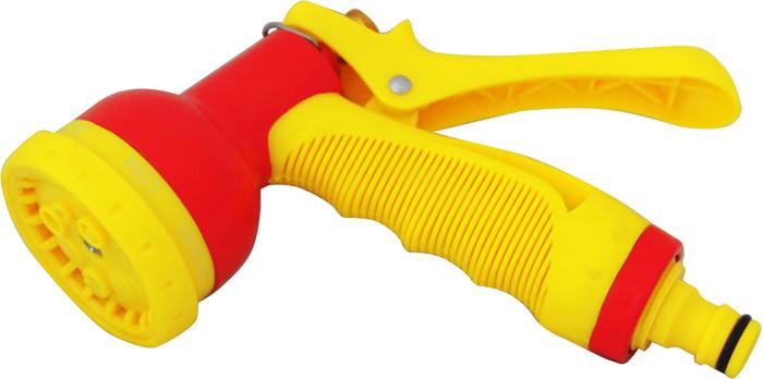 """Пистолет-распылитель """"Frut"""" предназначен для направленного полива растений.  Обеспечивает 6 режимов полива. Оснащен удобной металлической эргономичной рукояткой с фиксатором для  обеспечения непрерывного длительного полива. Материал: пластик, металлическое сопло, металлический курок."""