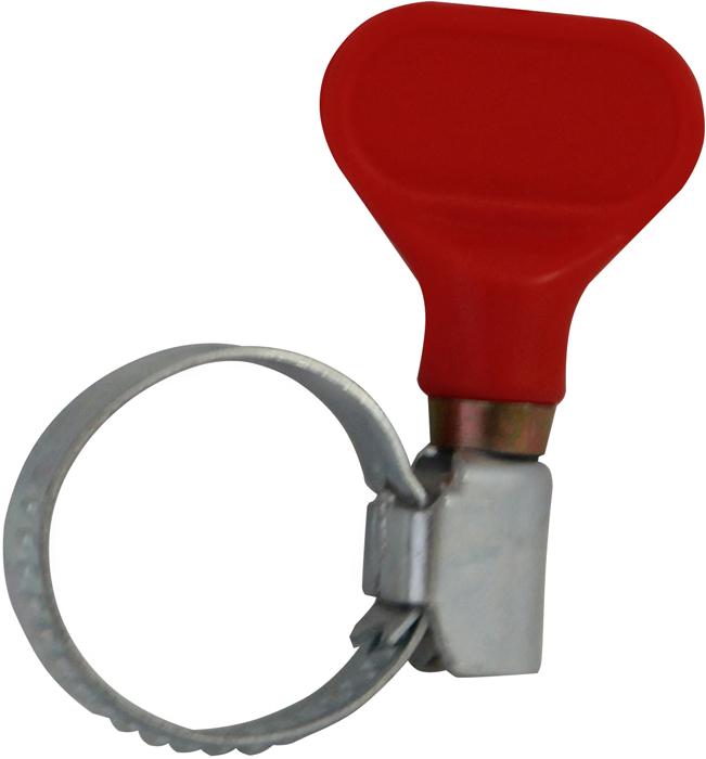 Хомут предназначен для надежного крепления и соединения шлангов.  Размер: 15-25 мм. Материал: нержавеющая сталь.  Ручка изготовлена из высокопрочного пластика. Не требуют дополнительного инструмента.  В комплекте: 4 штуки.