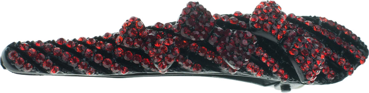 Зажим для волос Мастерская Крутовых, цвет: красный. 04-41704-417Какая хорошенькая заколка! Она украшена роскошными красными стразами, причем из них выложены на заколке три маленьких хорошеньких бантика, а остальная часть заколки разрисована сверкающими тонкими полосками! Стразы - это очень модно и эффектно! Прелестные красные бантики, переливающиеся модными мелкими камешками, придают вашей прическе и всему образу в целом невероятно приветливый и кокетливый характер! Яркие красные бантики хороши в волосах любого цвета, но более заметными и яркими они будут на очень светлых блондинках.